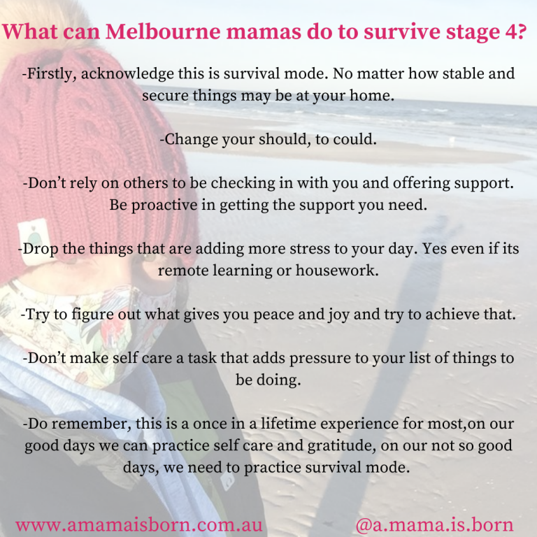 Read more about the article What can Melbourne mamas do to survive stage 4?